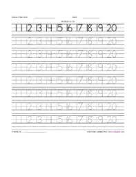 learning numbers 11 to 20 writing practice worksheet printable