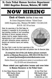 clerk of courts st croix tribal health and human services