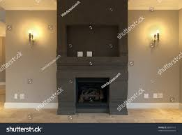 empty fireplace lounge inside modern house stock photo 88367161