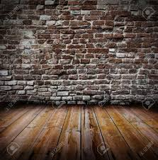 Wooden Interior Grunge Old Interior With Brick Wall And Wooden Floor Stock Photo