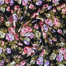 Large Floral Print Curtains Large Floral Print Fabric Cotton Print Fabric Calico Laine