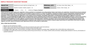 treasury assistant cover letter u0026 resume
