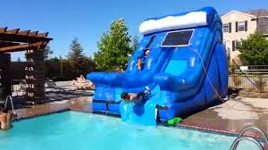 House With Pool Blue Wave Pool Slide All Around Bounce House Company Youtube