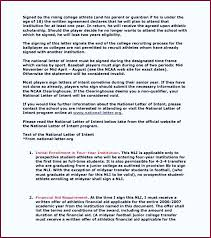 College National Letter Of Intent Baseball National Letter Of Intent Template Printable Sle