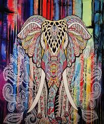 tribal color boho elephant wall fabric tapestry