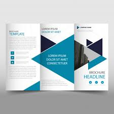 blue modern trifold business brochure template vector free download