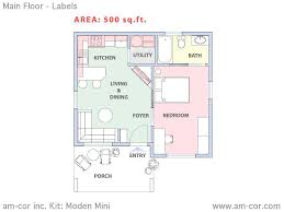 mini main floor dimensioned plan moden architecture plans 53768
