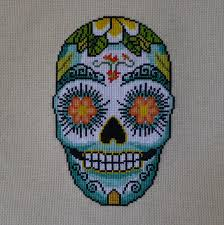 aloha flower sugar skull cross stitch pattern