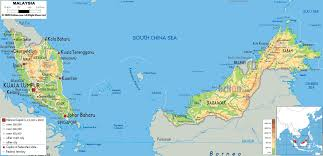 Physical Map Of Southeast Asia by Physical Map Of Malaysia Ezilon Maps