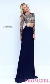 sherri hill two piece long sleeve dress promgirl