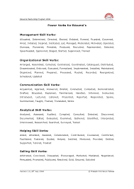 Power Verbs For Your Resume Power Verbs To Be Used In Resume