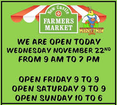 new castle farmers market open day before thanksgiving