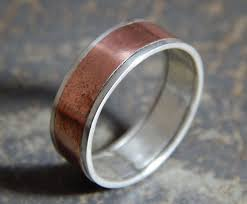 mens rustic wedding bands silver and copper ring mens rustic wedding ring rustic silver