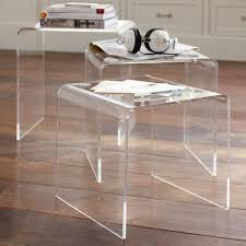 clear plastic bedside table wood lucite mirrored polished chrome side table at home lucite