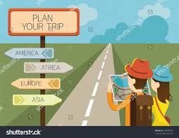 European Exploration Map Couple Tourist Reading Map Direction Sign Stock Vector 296220599