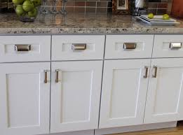 cabinets u0026 drawer chrome handles gray granite countertop white