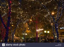 washington westlake park in downtown seattle decorated for the