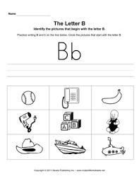letter b pictures u2014 instant worksheets