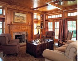 home garden living room knotty pine paneling mantel family room