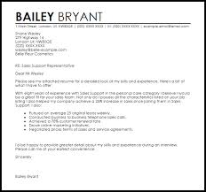 sales support cover letter sample livecareer