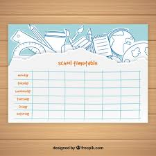 timetable template with hand drawn elements vector free
