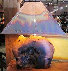mesquite wood lamp with copper shade light up my life