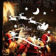 white christmas vinyl wall stickers santa claus deer star moon
