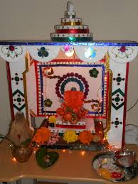 Home Temple Decoration by Around The World Home Made Paper Mache Ganpati Idol