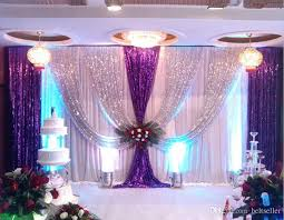 White Curtains With Pom Poms Decorating 3m 6m Silk Wedding Backdrop Curtains With Silver Sequin Drape