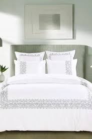 Isaac Mizrahi Sheets Melange Home Sanya Embroidered Cotton Duvet Cover Set White