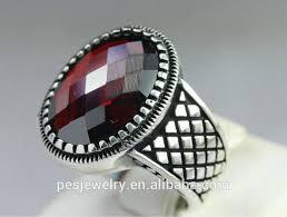 ring for men design fashion design sterling silver 925 turkish garnet men