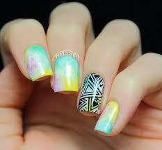 50 watercolor nail art ideas black polish