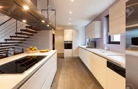 the kitchen designer nice modern loft view of the kitchen stock photo picture and