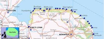coast map norfolk coast including the norfolk coast norfolk