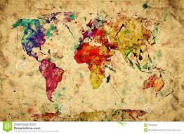 World Map Antique vintage world map colorful paint royalty free stock photo image
