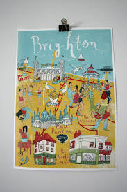 Brighton England Map by Illustrated Map Of Brighton Print