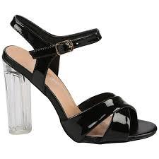 riley womens high block heels clear heel prespex sandals ladies