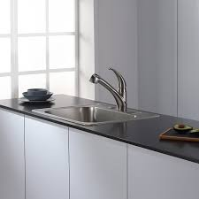 Kitchen Sinks And Faucets by Kraus Kpf 2110 Single Lever Stainless Steel Pull Out Kitchen
