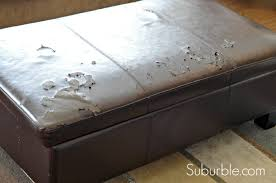 Reupholster Leather Ottoman The No Sew Way To Recover An Ottoman Suburble