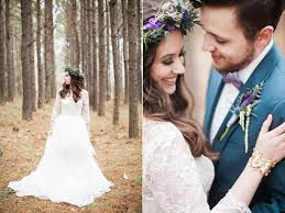 purple and ivory wedding in the woods ruffled