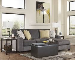 Traditional Gray Canvas Fabric Sectional Couch With Fancy Cushions - Small leather sofas for small rooms 2