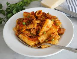 Pasta Sausage Rigatoni With Sausage Mushrooms And Peas Every Kitchen Tells A