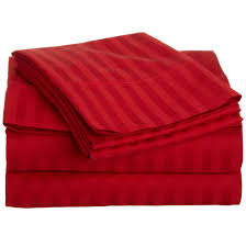 buy bed sheets with stripes 300 thread count red online in india