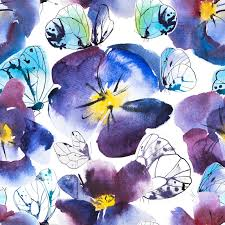 watercolor and ink seamless pattern violet and blue flower of