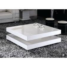 table basse de salon carree verre blanc laque design laquee noir