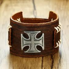 leather cuff bracelet with images Brown leather cuff bracelet with iron cross charm brackelts for jpg