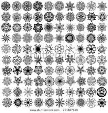 100 black symmetrical ornaments white stock illustration