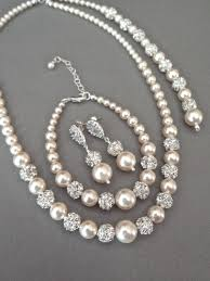 earrings necklace bracelet sets images Pearl jewelry set swarovski 3 piece pearl backdrop necklace jpg