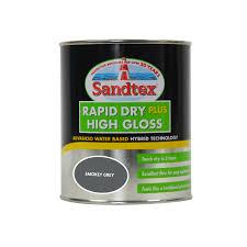 sandtex rapid dry plus high gloss exterior paint 750ml smokey grey
