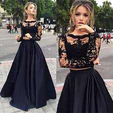 grad gowns black two pieces sleeve prom dress a line lace two pieces